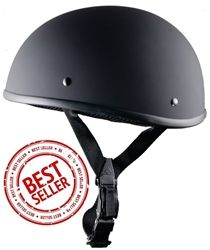 The smallest DOT approved motorcycle helmet in the world! Small beanie style in matte black with quick release adjustable buckle strap.