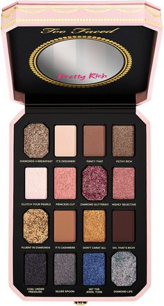 Too Faced Pretty Rich Diamond Light Eyeshadow Palette is a eyeshadow palette inspired by the multifaceted beauty of real diamonds. This product is part of the Pretty Rich Collection. Eyeshadow Palette Too Faced, Too Faced Palette, Eyeshadow Primer, Makeup Palette, Makeup Primer, Too Faced Natural Eyes, Makeup Tips, Beauty Makeup, Eye Makeup