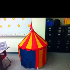 """The """"take a break tent"""" in my classroom for kids who need to deescalate"""