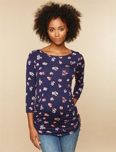 3/4 Sleeve Side Ruched Maternity Tee- Floral, Navy Pink Floral
