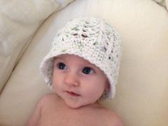 Delicate Crochet Hat - Eggshell with Green and Blue - 6 months