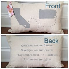 2-sided State to state or country love pillow via etsy (I'm going to want one of these when I become a missionary.)