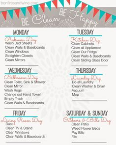 Bonfires and Wine: Weekly Cleaning Schedule {Free Printable}