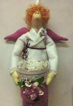 Купить Тильда Ангел - Хранительница ватных дисков и палочек - ангел, тильда, хранительница дисков