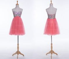 Peach homecoming dresses, short homecoming dresses, cute homecoming dresses…