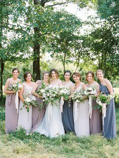 Summery mix and match bridesmaid dresses: http://www.stylemepretty.com/2016/06/02/mississippi-family-farm-wedding-elegant/ | Photography: Lauren Kinsey - http://laurenkinsey.com/