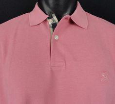 NWT Burberry Brit Rose Pink Polo Shirt XXL Men's Nova Check Accents SS Cotton #BurberryBrit #Polo