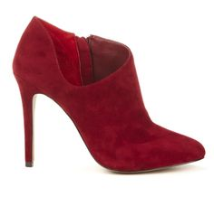 """@Sole Society """"Helena"""" - I'm really fond of this low cut and the red suede #bootie #solesociety"""