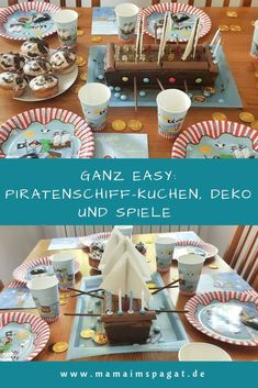 Very easy: pirate ship cake, decorations and games for a pirate party - mamaimspagat. Vegan Recipes Easy, Vegan Breakfast Recipes, Birthday Celebration, Birthday Parties, Pirate Ship Cakes, Vegan Crackers, Lets Celebrate, Fruit Smoothies, Vegan Chocolate