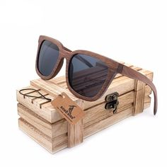 """Black Walnut"" Wood Polarized Sunglasses - Gray Lenses"
