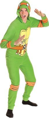 Adult Teenage Mutant Ninja Turtle One Piece Pajama - Party City
