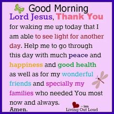 Good Morning Lord Jesus, Thank You