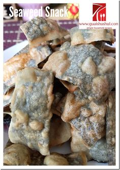 Chinese New Year Recipe : Crispy Seaweed Crackers (酥炸紫菜饼) - Guai Shu Shu Vegetarian Snacks, Savory Snacks, Yummy Snacks, Yummy Food, Whole Food Recipes, Dessert Recipes, Desserts, Cookie Recipes, New Year's Snacks