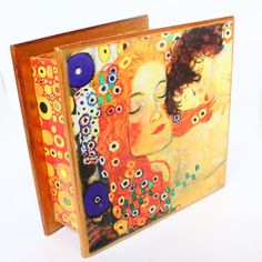BIG Wooden tea box  Gift for women Exclusive tea box jewelry box Gustav Klimt Mother and Child Mother's Day New Baby birthday New-born gift