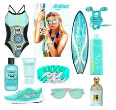 Aqua surf with The Rubbzz Original in Aqua and beaded silver links by therubbzzoriginal on Polyvore featuring polyvore, fashion, style, Sweaty Betty, Ray-Ban, Guerlain, Marc Jacobs, Bumble and bumble and clothing