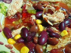 Low Fat Crock Pot Chicken Taco Soup from Food.com: A delicious healthy meal that is so easy to make. This is a combination of several great recipes that I have tried. The cooking aroma is very enticing.