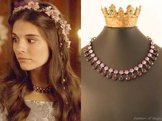 """In the episode (""""Sins of the Past"""") Lady Kenna wears this Rhondi Rocks Jewelry Custom Crystal Necklace.Worn with this vintage dress from Magwood Boutique, The Honeycomb flower crown. Kenna Reign, Lady Kenna, Reign Hairstyles, Reign Fashion, Medieval Clothing, Medieval Dress, Rock Jewelry, Jewellery, Circlet"""