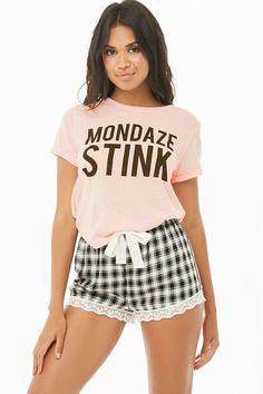 Product Name:Mondaze Stink Graphic PJ Set, Category:intimates_loungewear, Cute Pjs, Cute Pajamas, Pajamas Women, Cute Sleepwear, Lingerie Sleepwear, Nightwear, Forever 21 Pajamas, Polo T Shirts, Tumblr