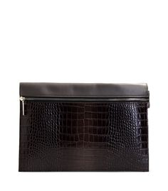 Victoria Beckham Dark Gray Croc-Effect Leather Clutch