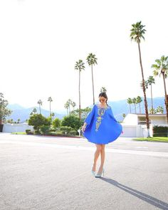 How To Wear a Caftan: Fashion blogger Kelly Golightly wears a Lilly Pulitzer caftan in Palm Springs.