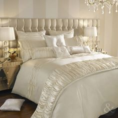Kylie Minogue Karissa Bedding Set - Soft oyster satin is gathered creating beautiful bed linen with textured pleats, intricately held together with tiny pearls, placed delicately along the pleats. Cream Bed Linen, Cream Bedding, Satin Bedding, Chic Bedding, Linen Bedding, Bed Linens, Neutral Bedding, Bedding Sets Online, Luxury Bedding Sets