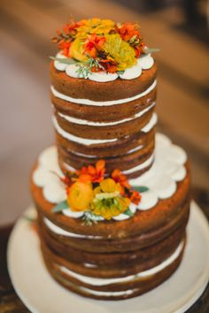 Rustic naked cake: http://www.stylemepretty.com/utah-weddings/park-city/2015/04/09/rustic-park-city-wedding/   Photography: Carla Boecklin - http://www.carlaboecklin.com/