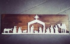 Christmas Nativity String Art, unique nativity, Christmas decoration, Christmas story, Christmas decor by BlossomsNKnots on Etsy https://www.etsy.com/listing/244978708/christmas-nativity-string-art-unique