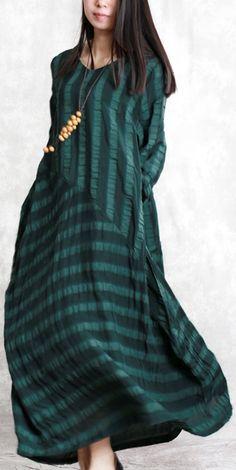 568e86d8aa Elegant blackish green natural linen dress plus size clothing patchwork  traveling clothing 2018jacquard linen caftans