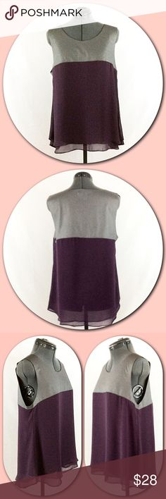 """Love Riche - Style Ride 💕Faux Leather/Chiffon Top Love Riche - Style Ride 💕Faux Leather/Chiffon Top💕Look and feel of real leather bodice with look and feel of flowing Chiffon bottom. Beautiful color combination of Gray and Plum. Cut raw edges on the Faux Leather bodice. Plum bottom has lining of self fabric and is meant to be loose flowing fit. Self = 100% Polyester with Contrast = 30% PVC and 70% Cotton. Bust = 20"""" armpit to armpit, Length = 26"""" shoulder to hem. NWT💕 Tops"""