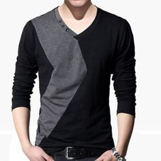 Hot Sale Men's Slim Fit Stitching T-Shirt Crew Neck Long Sleeve Shirts Fashion Casual Youths Tops Size