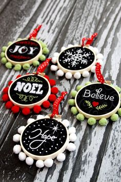 "Mini Hoop ""Chalk"" Art Christmas Ornaments"