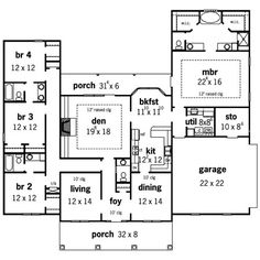 colonial country traditional house plan 59952 gas logs - Simple House Plans