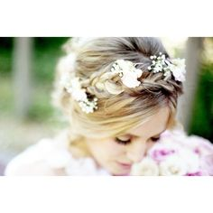 bohemian wedding hairstyles loose waves with braids 2 | OneWed.com ❤ liked on Polyvore