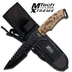 Mtech Knives Tactical Knife   MTech Xtreme Full Tang Tactical Knife with Tanto Blade