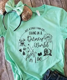 Disney shirt Small town girl Living in a Disney World Shirt Disney Shirts for women Disney world shirts Disney trip tees Family - Life Shirts - Ideas of Life Shirts - Disney World Outfits, Disney World Shirts, Disney Tees, Disney Shirts For Family, Disney Diy, Disney Family, Cute Disney, Disney Style, Family Shirts