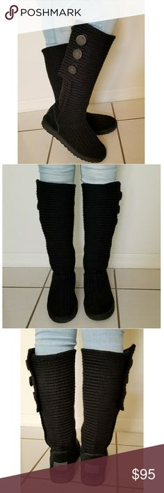 🎀UGG Knit Cardy Boots Black Size 10 🎀 Great Condition, no major flaws/damage. Women's Size 10. UGG Shoes Ankle Boots & Booties