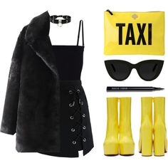 Taxi clutch by baludna on Polyvore featuring Chicwish, T By Alexander Wang, Vetements, Kate Spade, Zana Bayne, Quay and Bobbi Brown Cosmetics