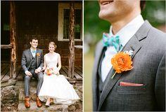 orange and blue groom looks