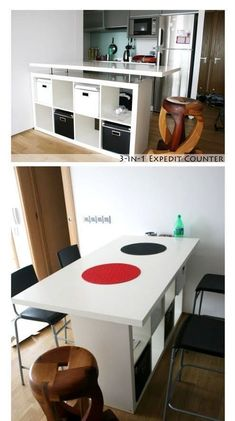 Everyone knows 'Kallax' shelves from IKEA! Here are 8 great DIY ideas with Kallax shelves! – DIY craft ideas Everyone knows & # Kallax & # shelves from IKEA! Here are 8 great DIY ideas with Kallax shelves! Ikea Kallax Hack, Kallax Shelf, Ikea Shelves, Ikea Bar, Kitchen Ikea, Diy Kitchen Island, Kitchen Unit, Ikea Furniture, Kitchen Furniture