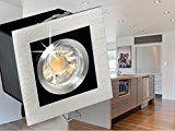 LED Einbau-Strahler K1 schwenkbar, Decken-Leuchte Aluminium gebürstet, 3W SMD LED warm-weiß in schöner Halogenoptik GU10 230V [IHRE VORTEILE: hervorragende LEUCHTKRAFT, LICHTQUALITÄT und VERARBEITUNG]