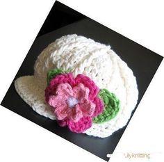 PATTERN Crocheted newsgirl/newsboy visor beanie/hat/cap with a rose -- 6 - 9 months and 9 - 12 months