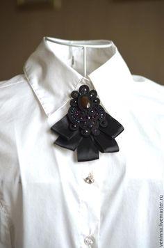 Купить Сутажная брошь -галстучек 2 - черный, брошь, галстук, сутажная брошь, сутажная техника