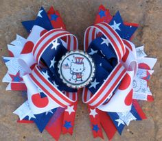Hello Kitty 4th of July Patriotic Hair Bow by PolkaDotzBowtique, $9.49