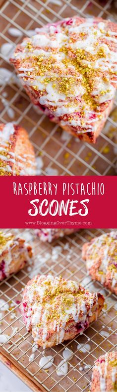 Raspberry Pistachio Scones with Lemon Glaze. So delicious and flaky from @BlogOverThyme