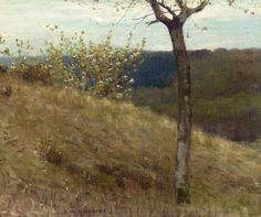 British Paintings: Louis Welden Hawkins - A landscape with blossom