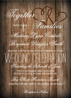 Rustic Country Double Hearts Barn Wood Wedding Invitations.  Two Sided.  Your Choice of Paper.  Cheap Discount Sale Prices of 40% OFF when you order 100+ Invites.  Perfect for a country wedding.