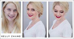 hollywood vintage inspired makeup and updo by sarah #kellyzhang #kellyzhangstudio #redlips #updo #vintage #hollywood #hollywoodglam #vintageglam #smokey #smokeyeyes #bride #wedding #bridal #wingedeyeliner