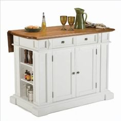Amazon.com: Home Styles 5002-94 Kitchen Island, White and Distressed Oak Finish: Kitchen & Dining