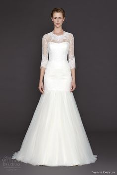 winnie couture bridal fall 2015 marylou long sleeve wedding dress fit and flare trumpet silhouette