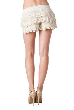 Lovely Tiered Lace Stretchy Shorts with Elasticized Waistband
